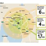 Kart-illustrasjon OSLO elsykkel