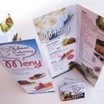 Foto og utforming av meny og doble visittkort m.m for Hilmas Catering på Knapstad