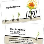 Utforming av logo/og bl.a visittkort for «LIV» Ingvild Harlem